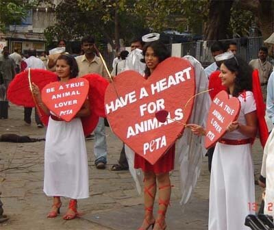 PETA Activists Demonstrate in Mumbai to Celebrate Valentines Day
