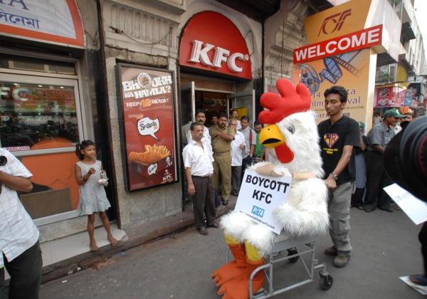PETA India's Crippled 'Chicken' Demonstration in Kolkata