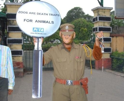 Kolkata police official engages in monkey business outside Alipore zoo