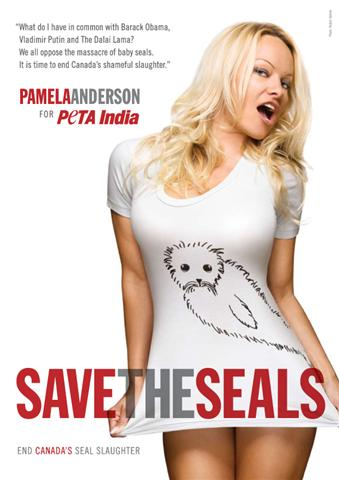 "Pamela Anderson's ""Save the Seals"" ad"