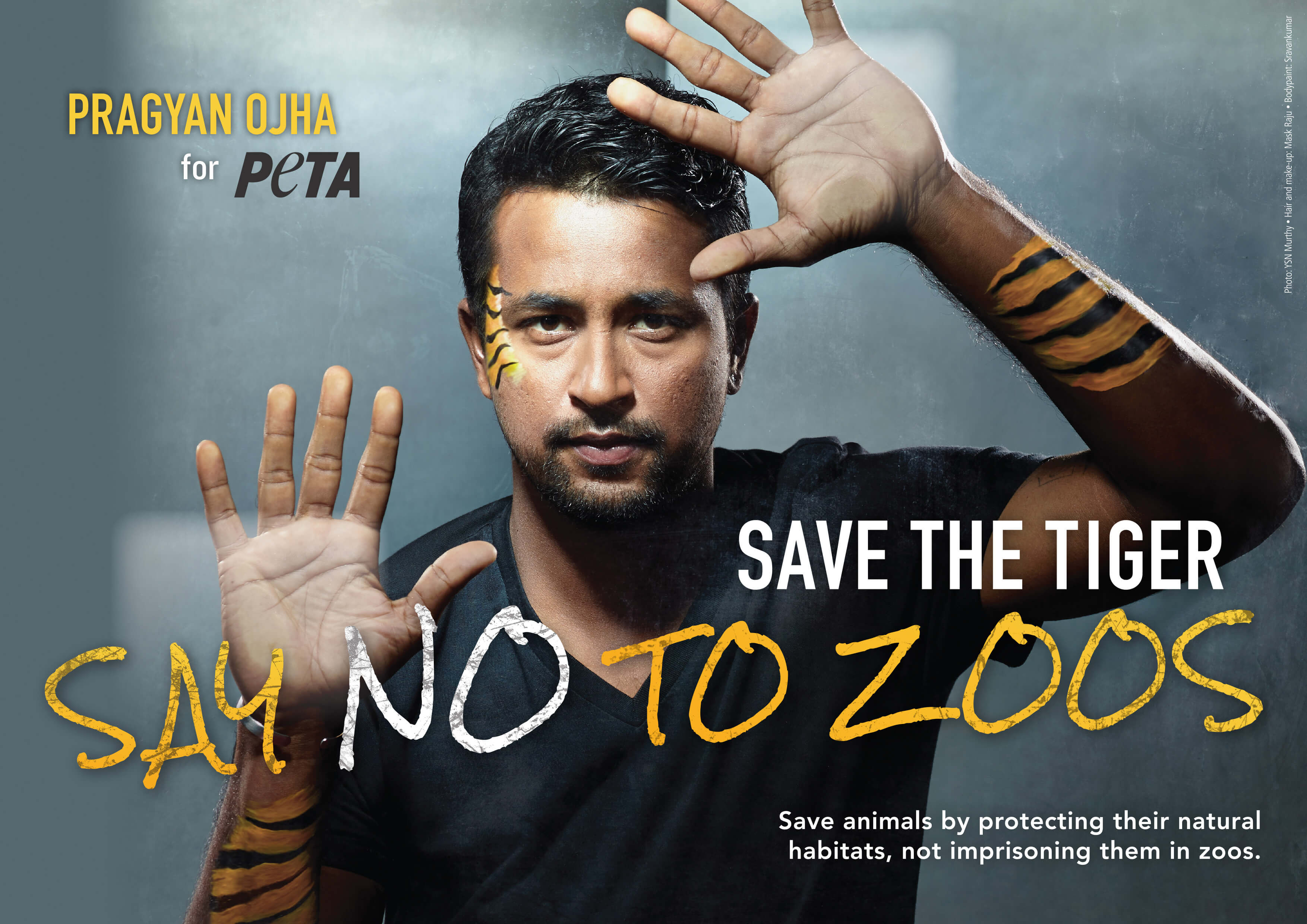 Pragyan Ojha Says NO to Zoos in PETA ad