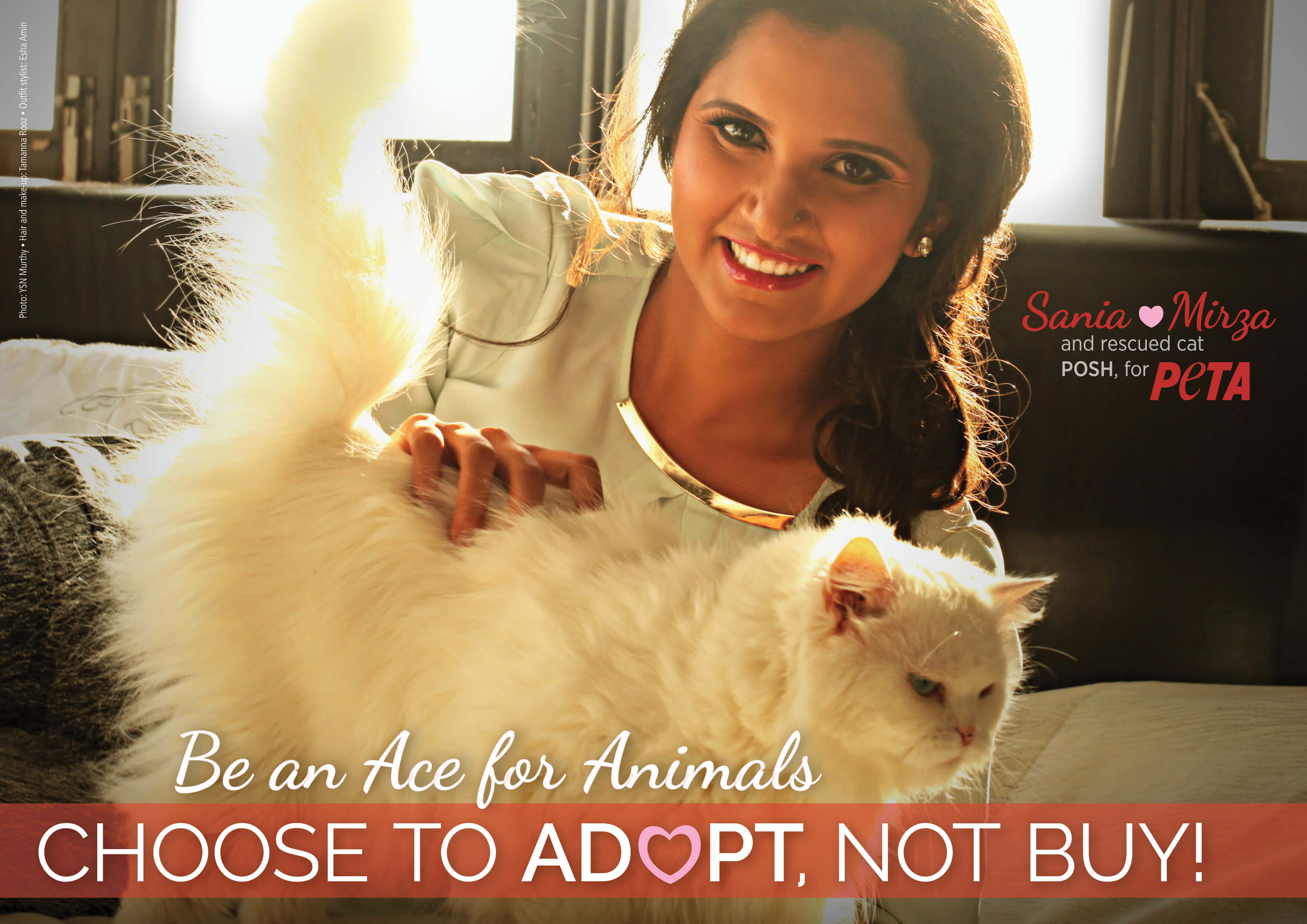 Sania Mirza Stars With Her Adopted Cat Posh in PETA Ad
