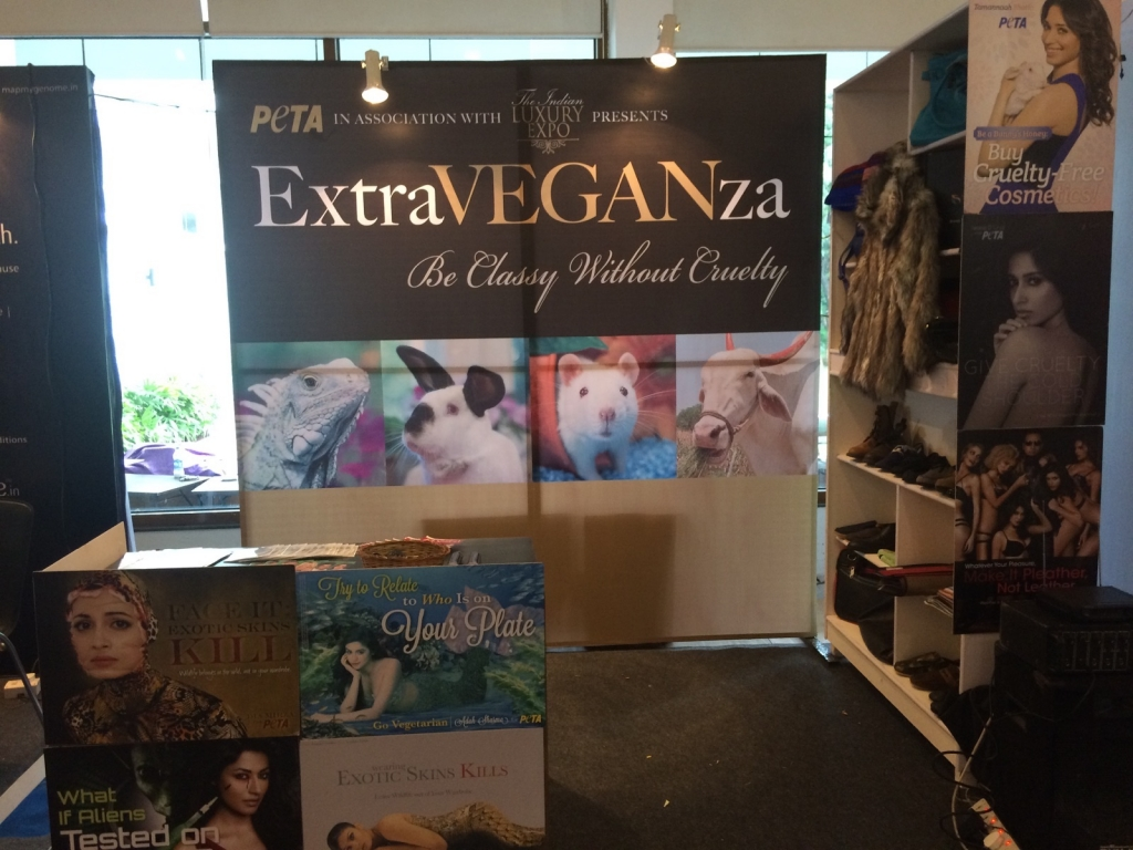 ExtraVEGANza PETA stall at the Indian Luxury Expo ,Hyderabad