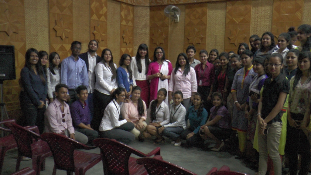 With faculty and students