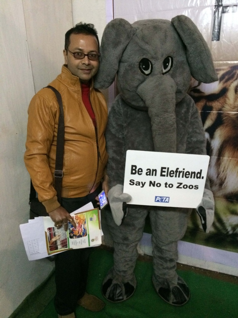 Designer Prasantt Ghosh at PETA stall in North East India Fashion Weekend