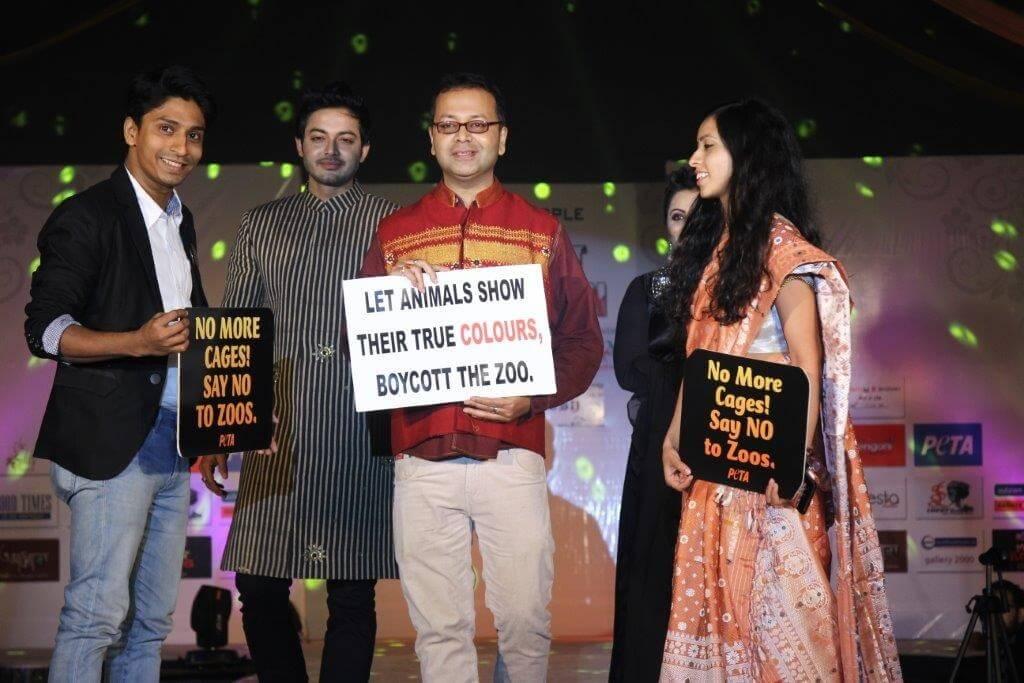 Along with the designer, PETA representatives Sachin Bangera and Shambhavi Tiwari walk the runway for animals.