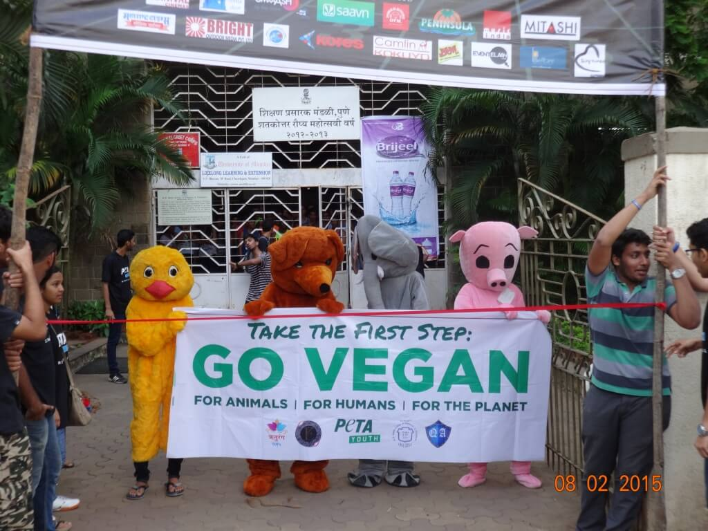 mascots promoting veganism at festival