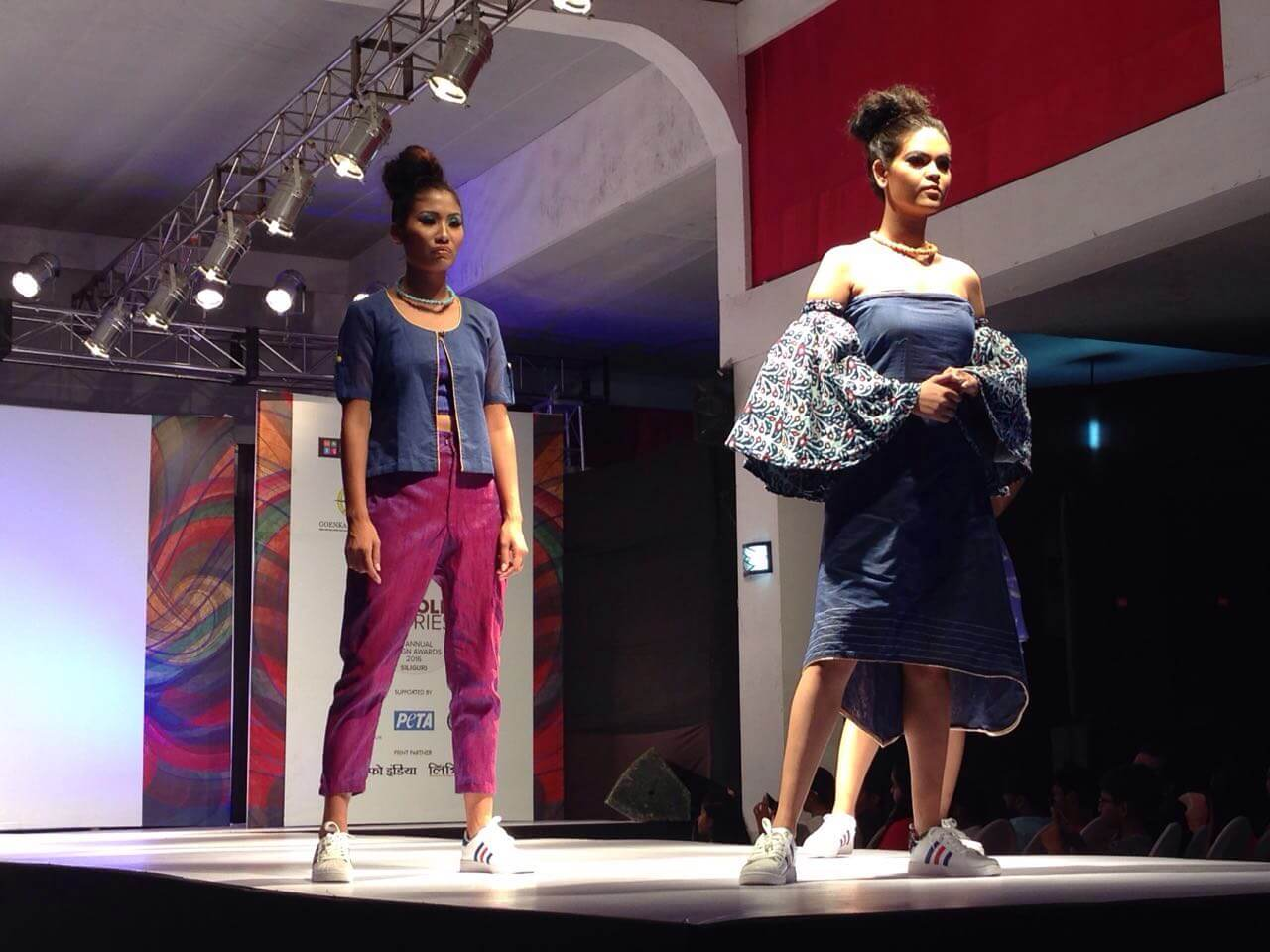 The theme used by Shikha Agarwal was 'Behind the Scene' and the fabric used in her designs were vegan georgette, cotton and twill cotton.