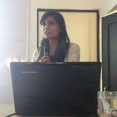PETA's Benazir Suraiya giving talk on vegan fashion.