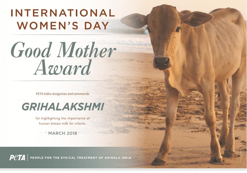 PETA India Honours 'Grihalakshmi' for Recognising Human Breast Milk as Optimal for Infants' Health