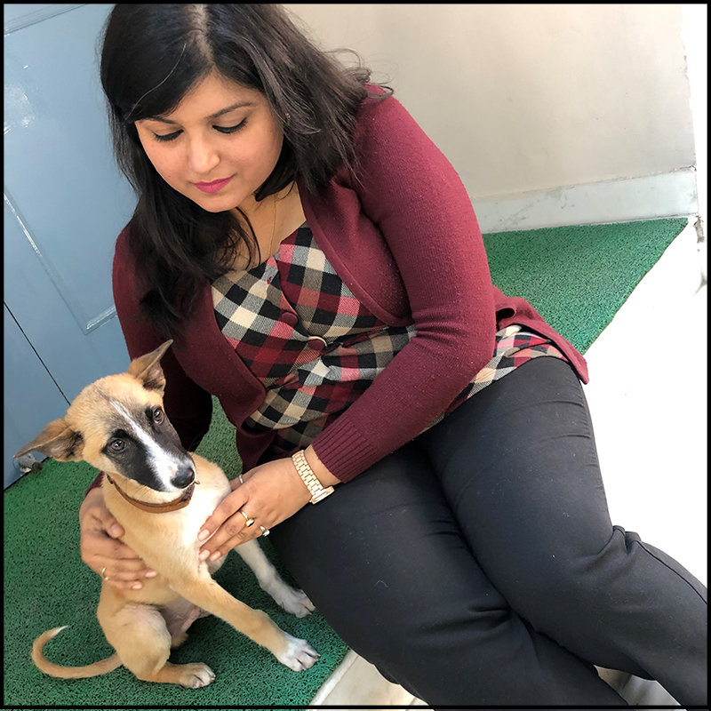 Dipti Photo with Dog for Women's Day