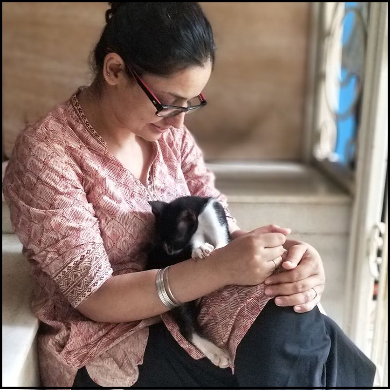Puja photo with cat for womens day