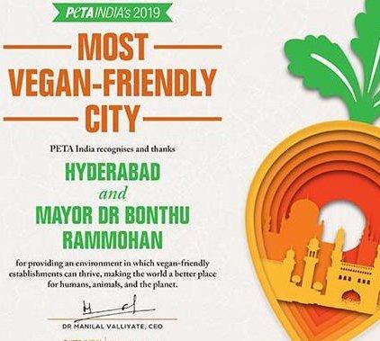 Hyderabad Nabs PETA India's 'Most Vegan-Friendly City' Award for 2019