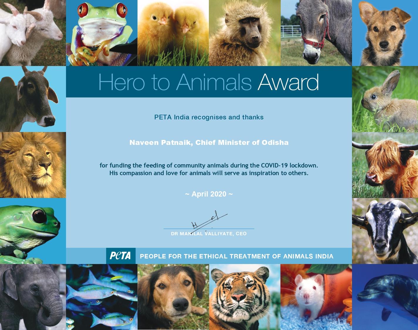 Odisha CM awarded by PETA India
