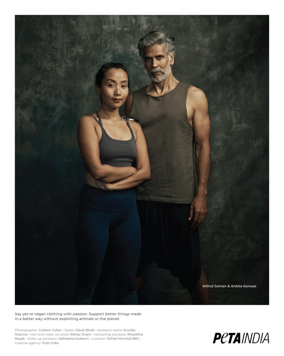 Milind Soman and Ankita Konwar Vegan Fashion Look book 2021