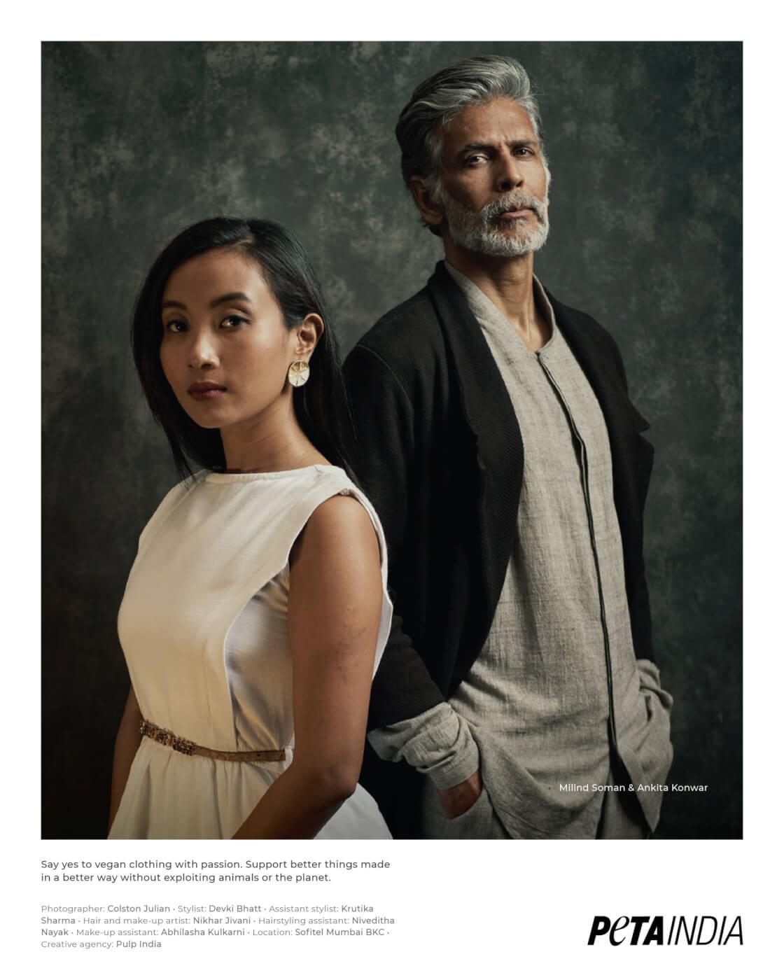 Milind Soman and Ankita Konwar Vegan Fashion Look book 2021 - Office Wear