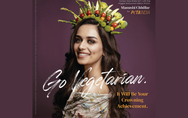 Miss World 2017 and 'Prithviraj' Star Manushi Chhillar Is Crowned With Veggies in New PETA India Earth Day Campaign